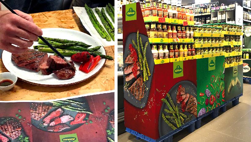 Ein Bild eines Kühne Displays im Supermarkt
