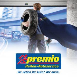 Der Premio Superheld den aha! für die Recruiting Kampagne von premio reifen+Autoservice erstellt hat